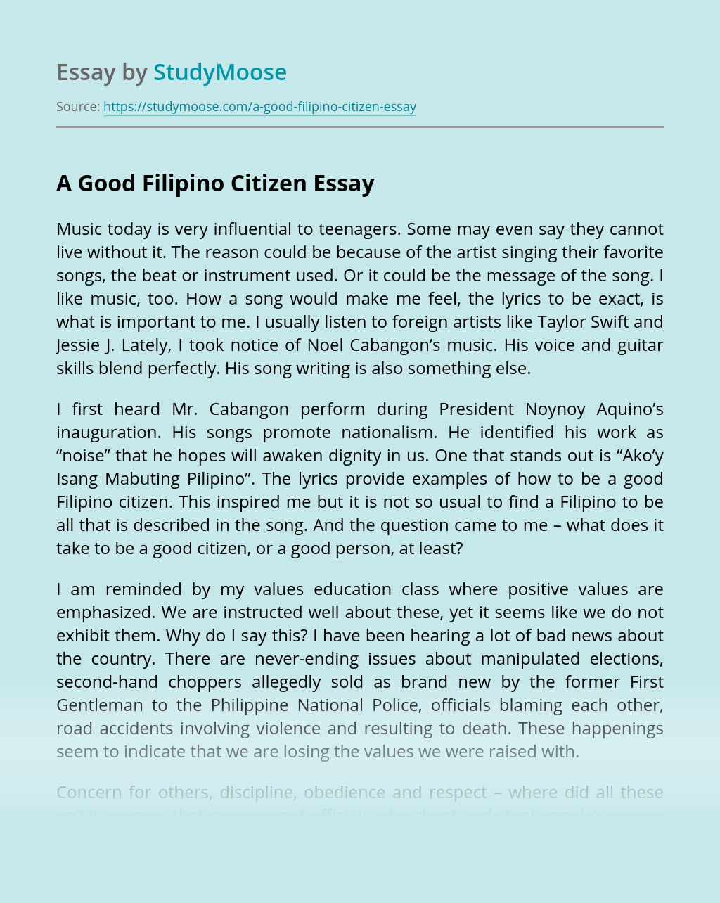 A Good Filipino Citizen