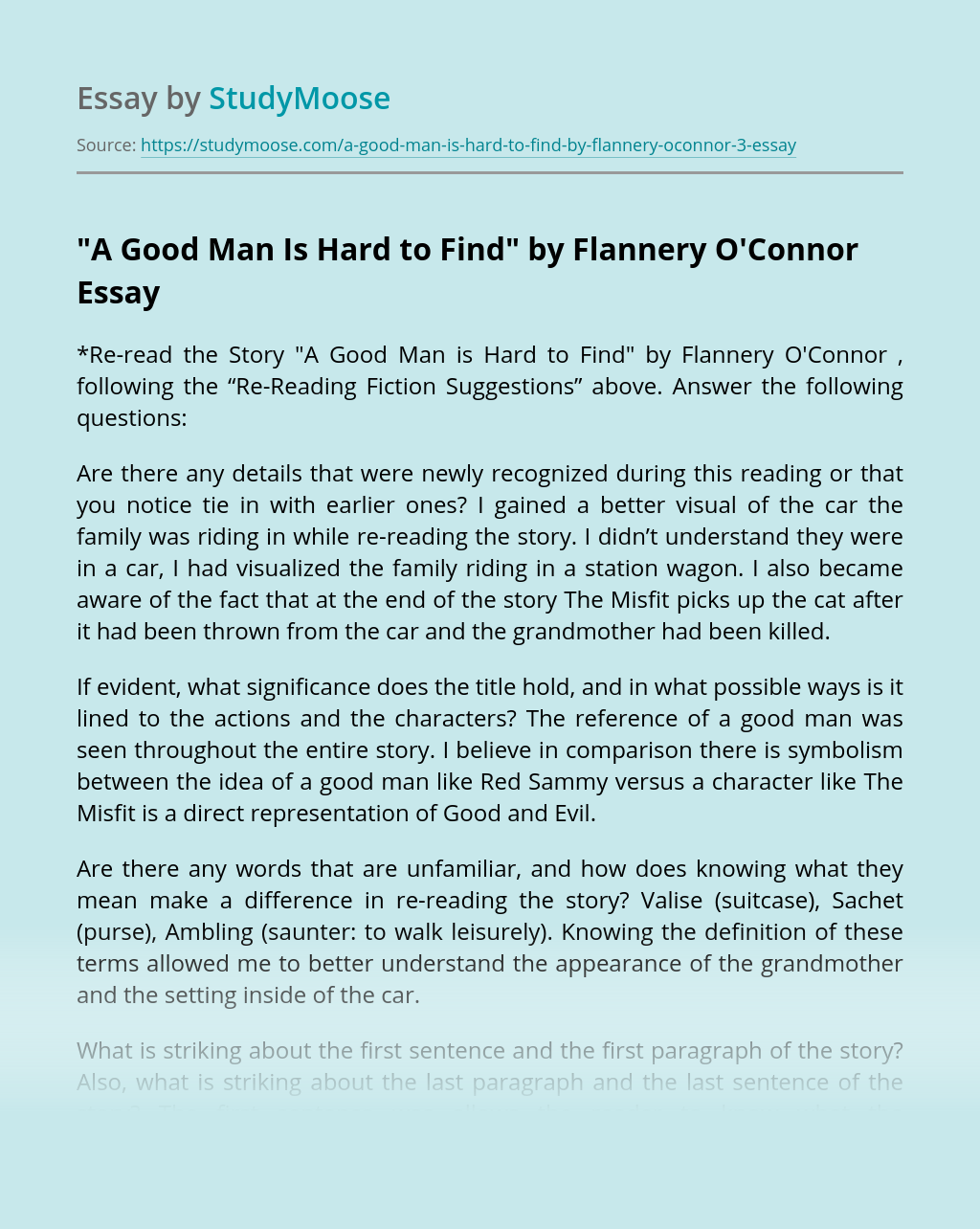 A good man is hard to find essays