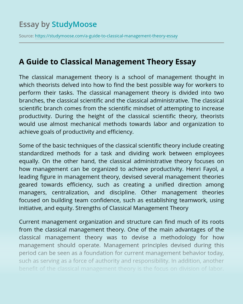 A Guide to Classical Management Theory