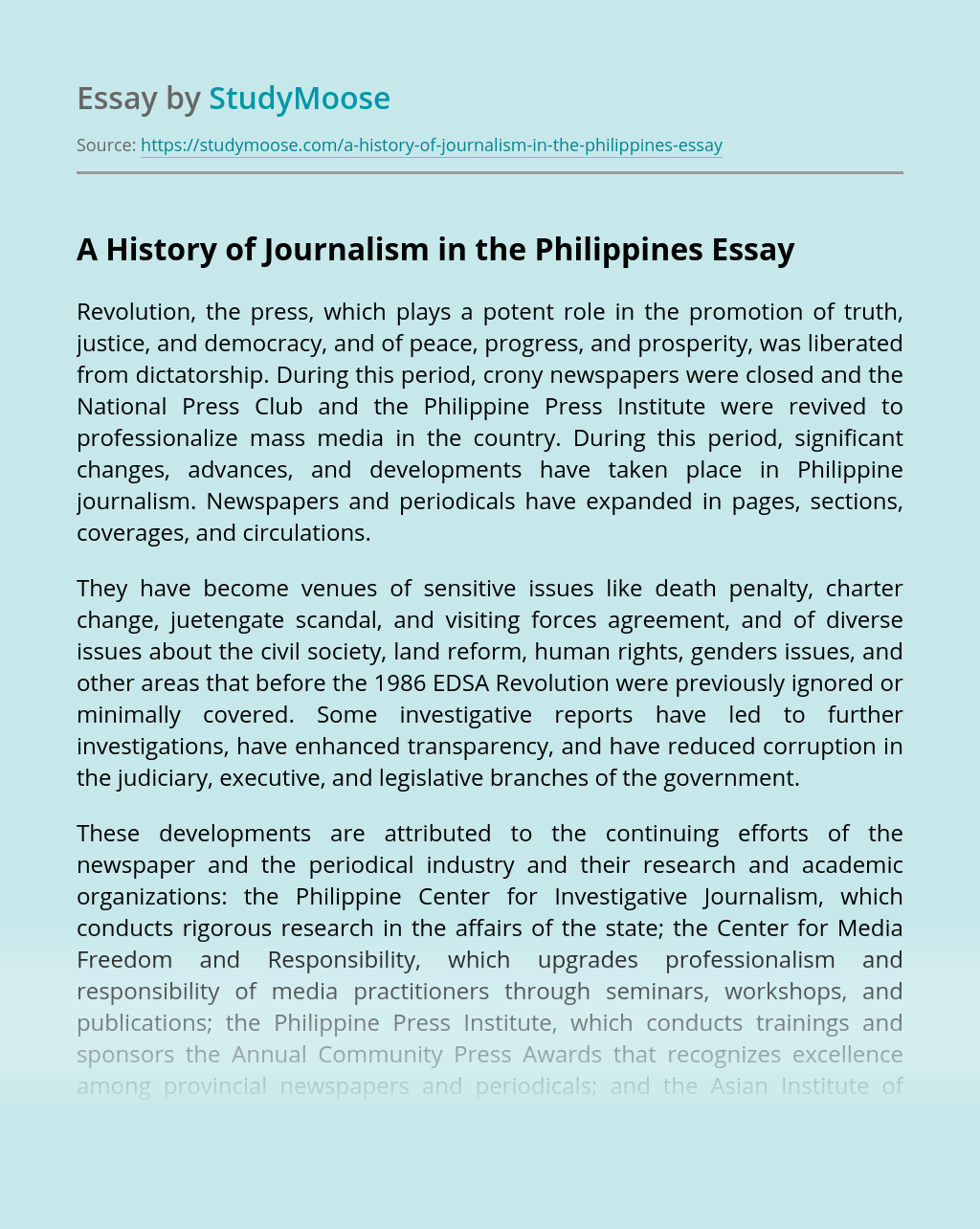 A History of Journalism in the Philippines