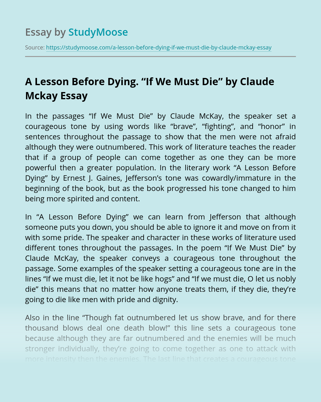 """A Lesson Before Dying """"If We Must Die"""" by Claude Mckay"""
