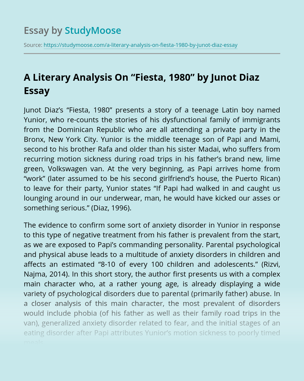 """A Literary Analysis On """"Fiesta, 1980"""" by Junot Diaz"""