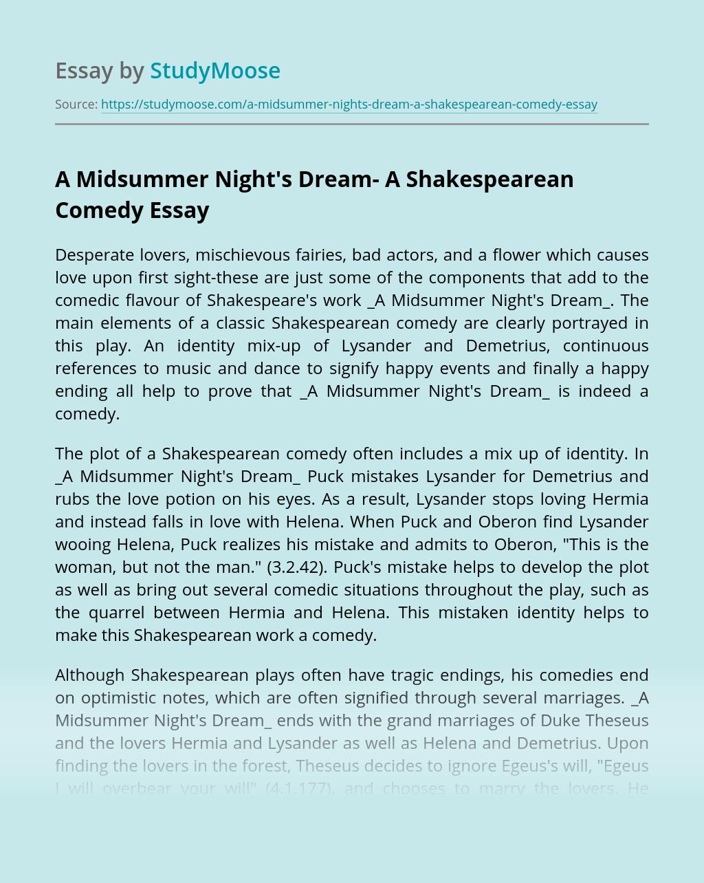 A Midsummer Night's Dream- A Shakespearean Comedy