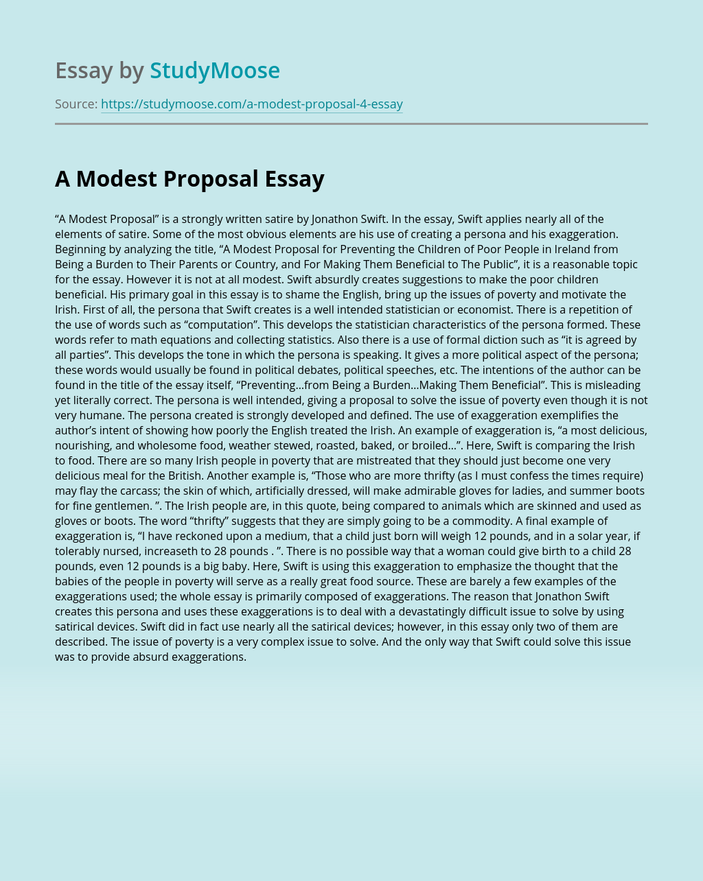 Modest Proposal Examples Essay Example