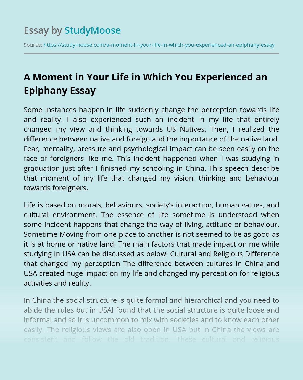 A Moment in Your Life in Which You Experienced an Epiphany