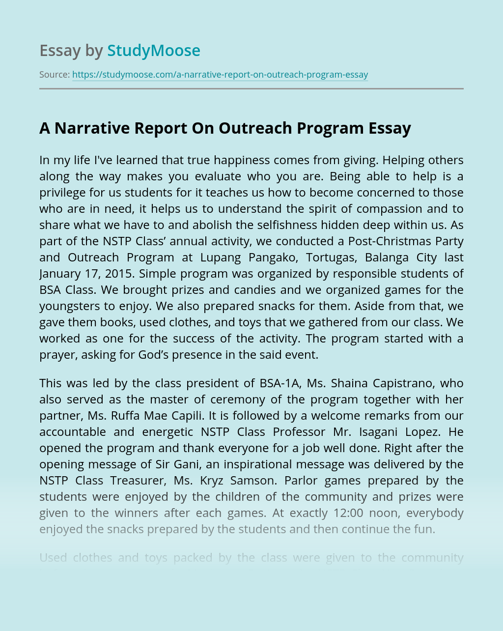 A Narrative Report On Outreach Program
