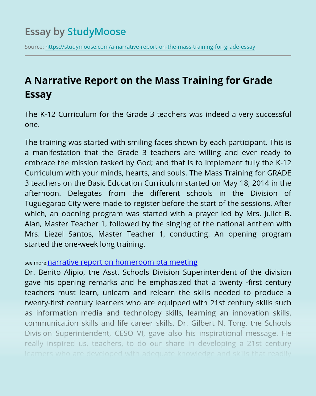 A Narrative Report on the Mass Training for Grade