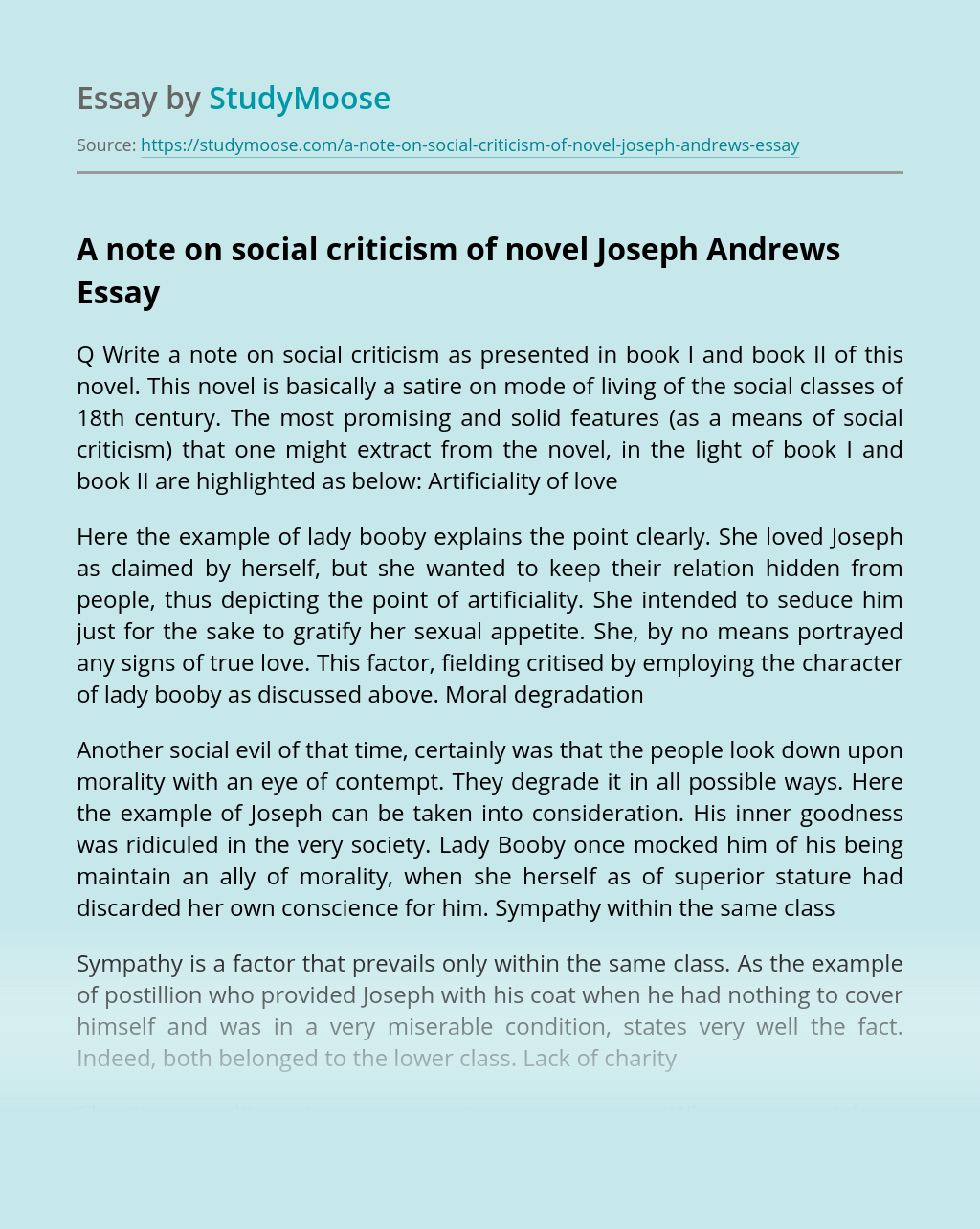 A note on social criticism of novel Joseph Andrews