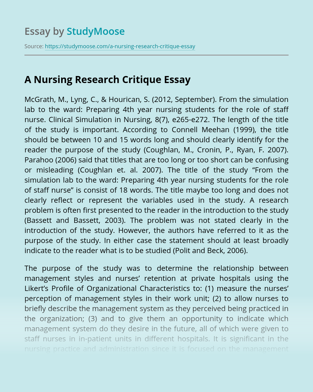 A Nursing Research Critique Free Essay Example