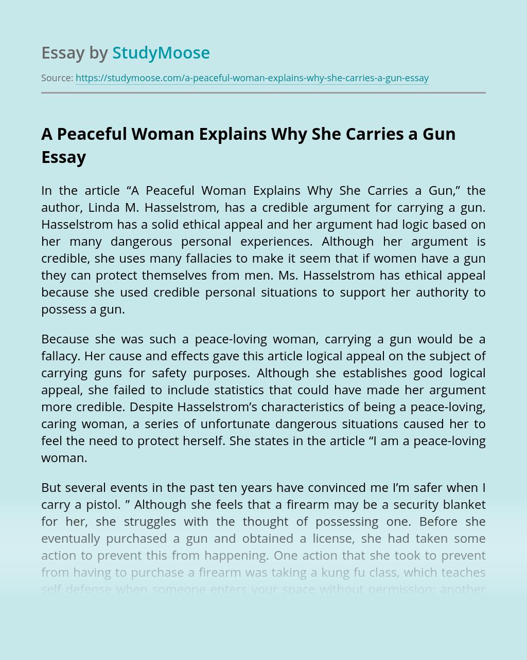 A Peaceful Woman Explains Why She Carries a Gun