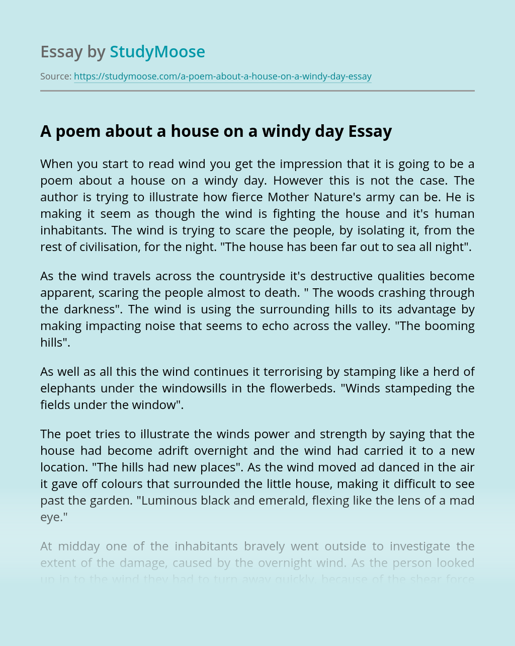 A poem about a house on a windy day