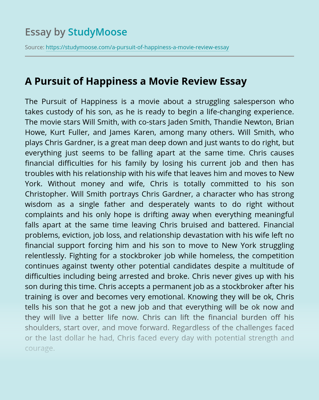 A Pursuit of Happiness a Movie Review