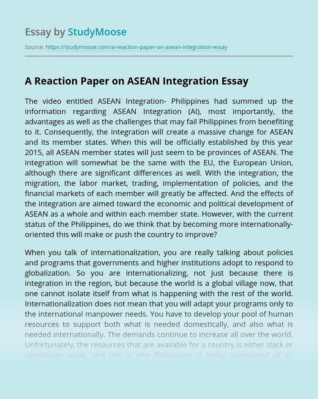 A Reaction Paper on ASEAN Integration