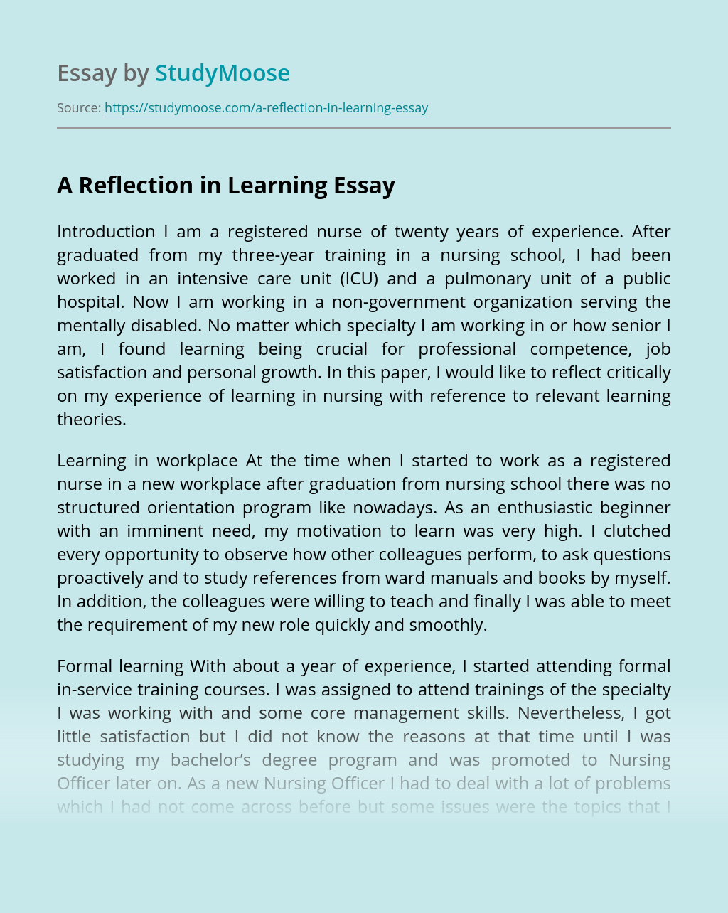 A Reflection in Learning