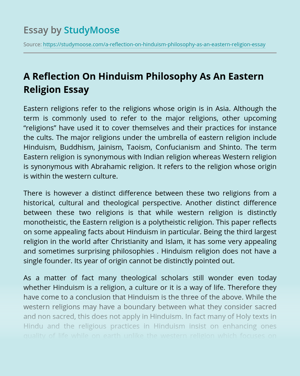 A Reflection On Hinduism Philosophy As An Eastern Religion