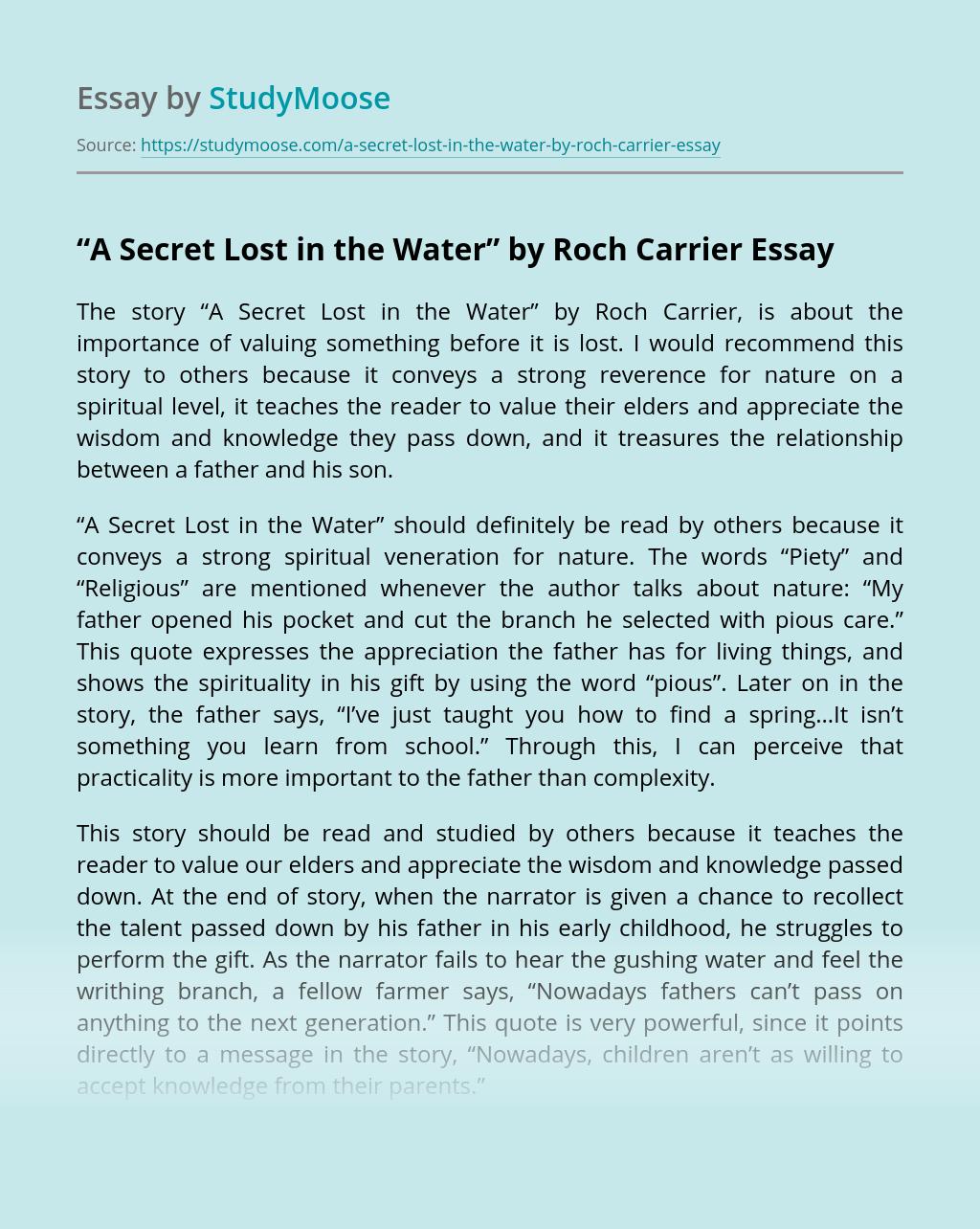 """A Secret Lost in the Water"" by Roch Carrier"