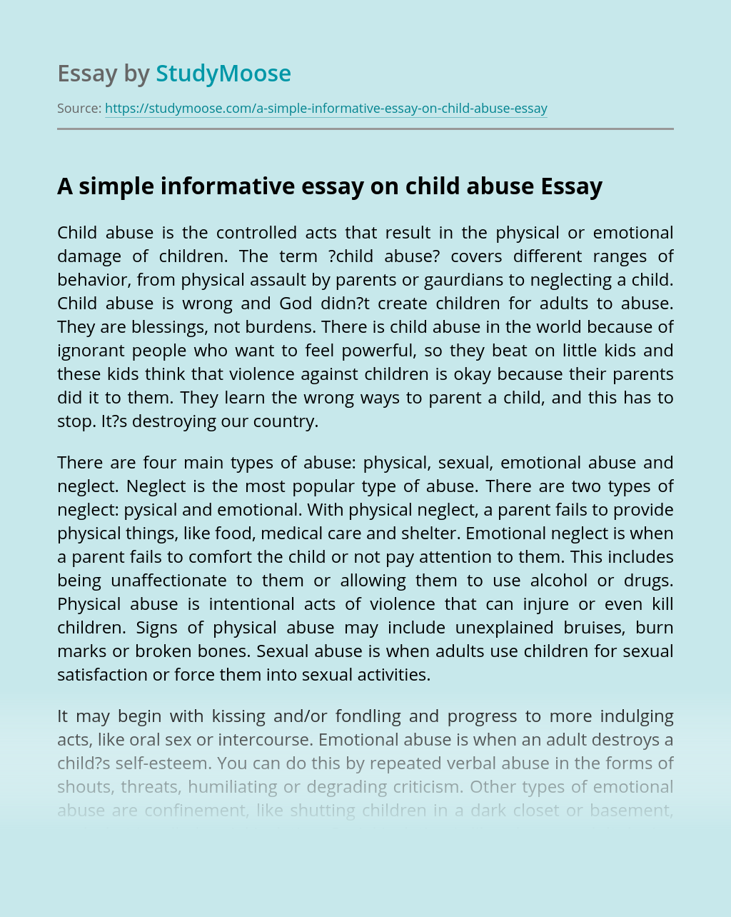 A simple informative essay on child abuse