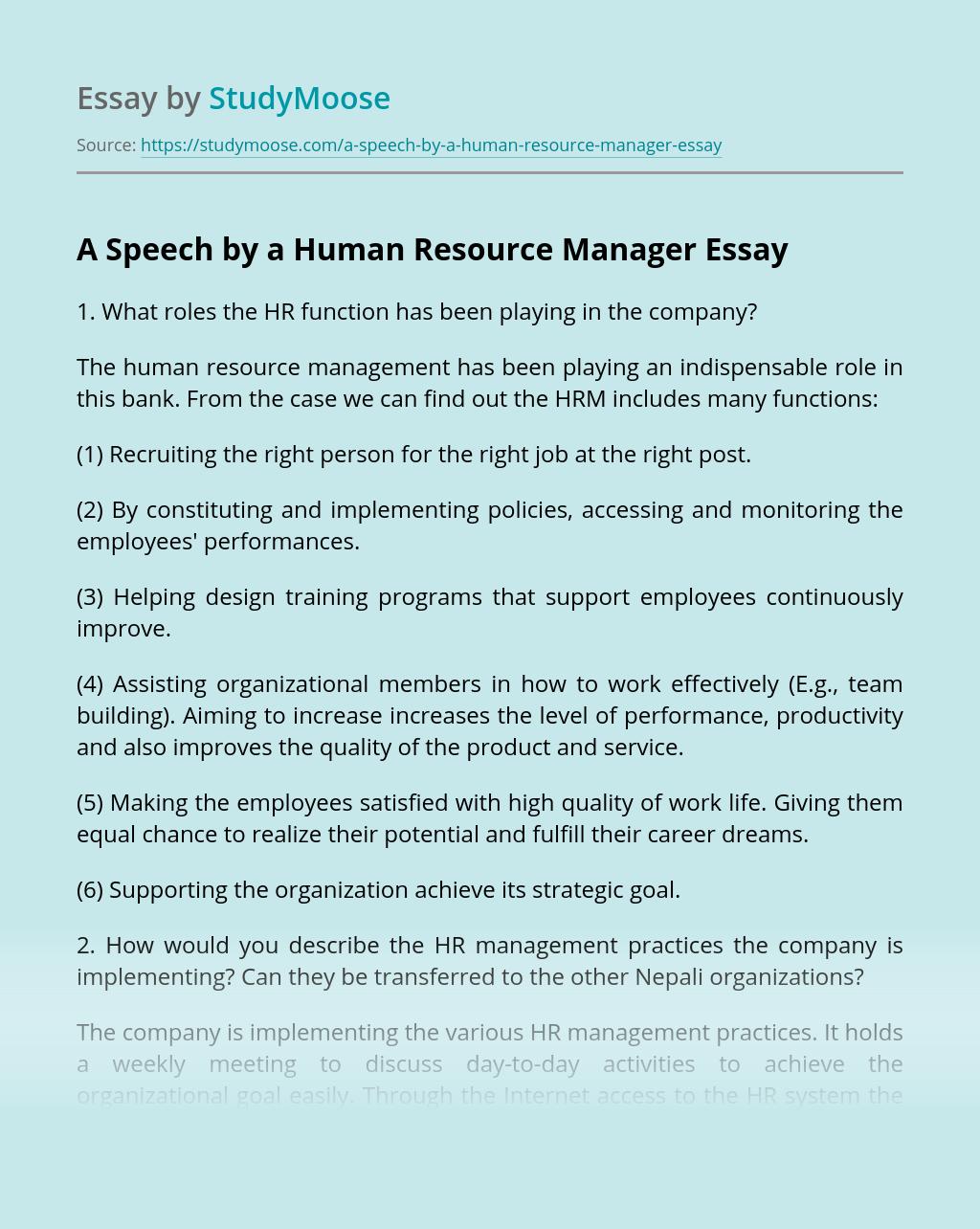 A Speech by a Human Resource Manager
