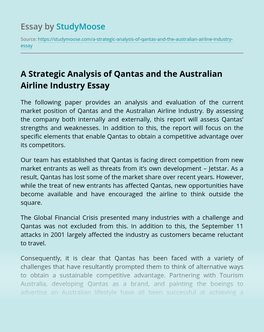 A Strategic Analysis of Qantas and the Australian Airline Industry