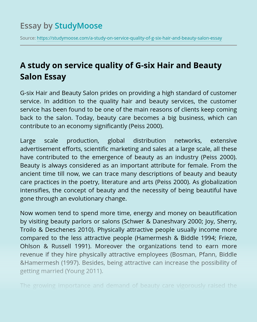 A study on service quality of G-six Hair and Beauty Salon