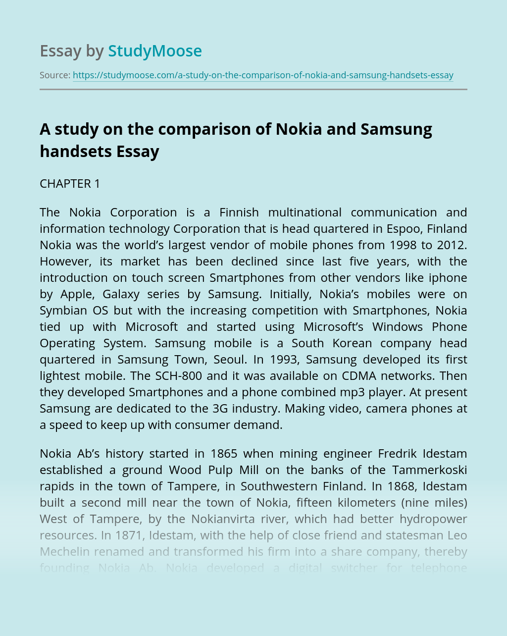 A Study on the Comparison of Nokia and Samsung Handsets