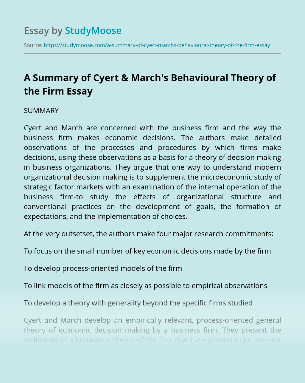 A Summary of Cyert & March's Behavioural Theory of the Firm