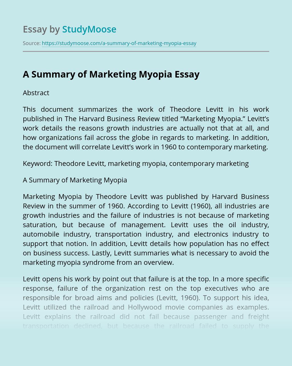 A Summary of Marketing Myopia
