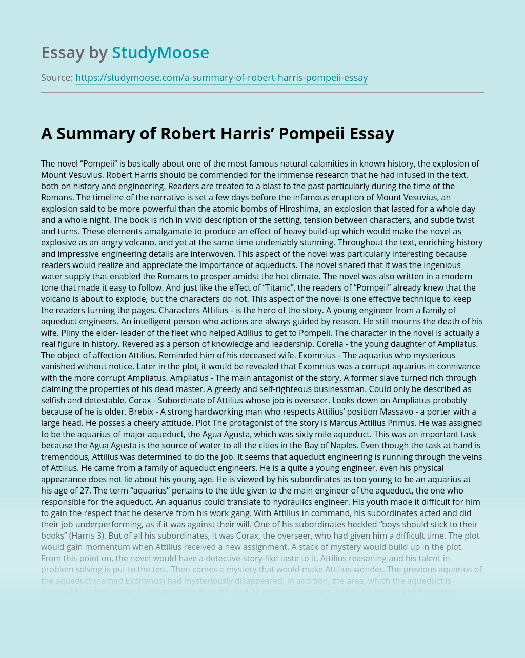 A Summary of Robert Harris' Pompeii