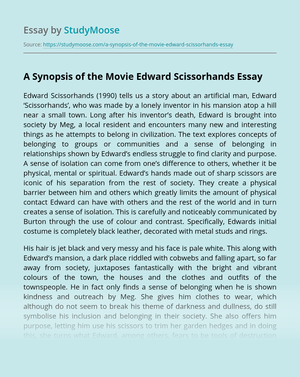 A Synopsis of the Movie Edward Scissorhands