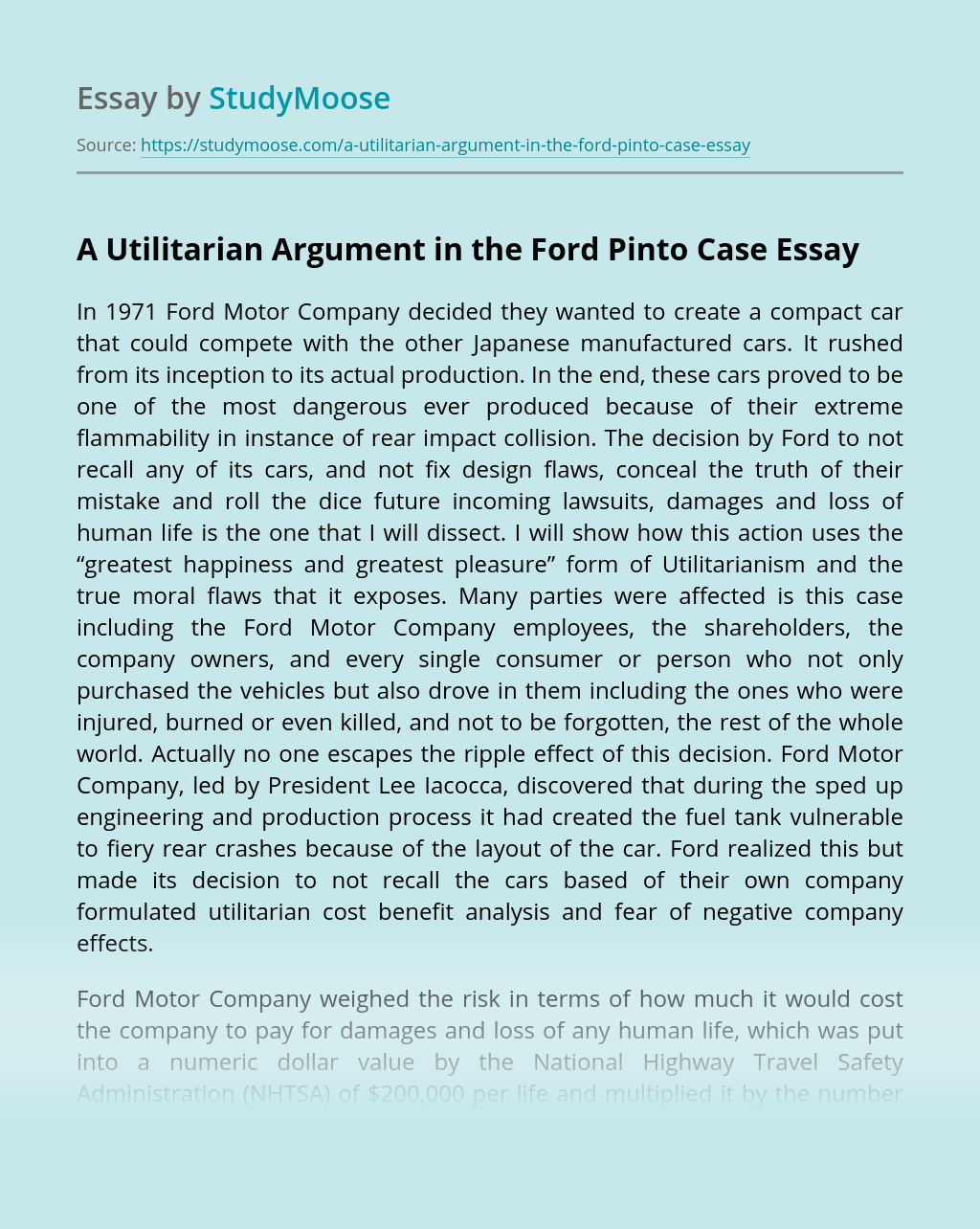 A Utilitarian Argument in the Ford Pinto Case