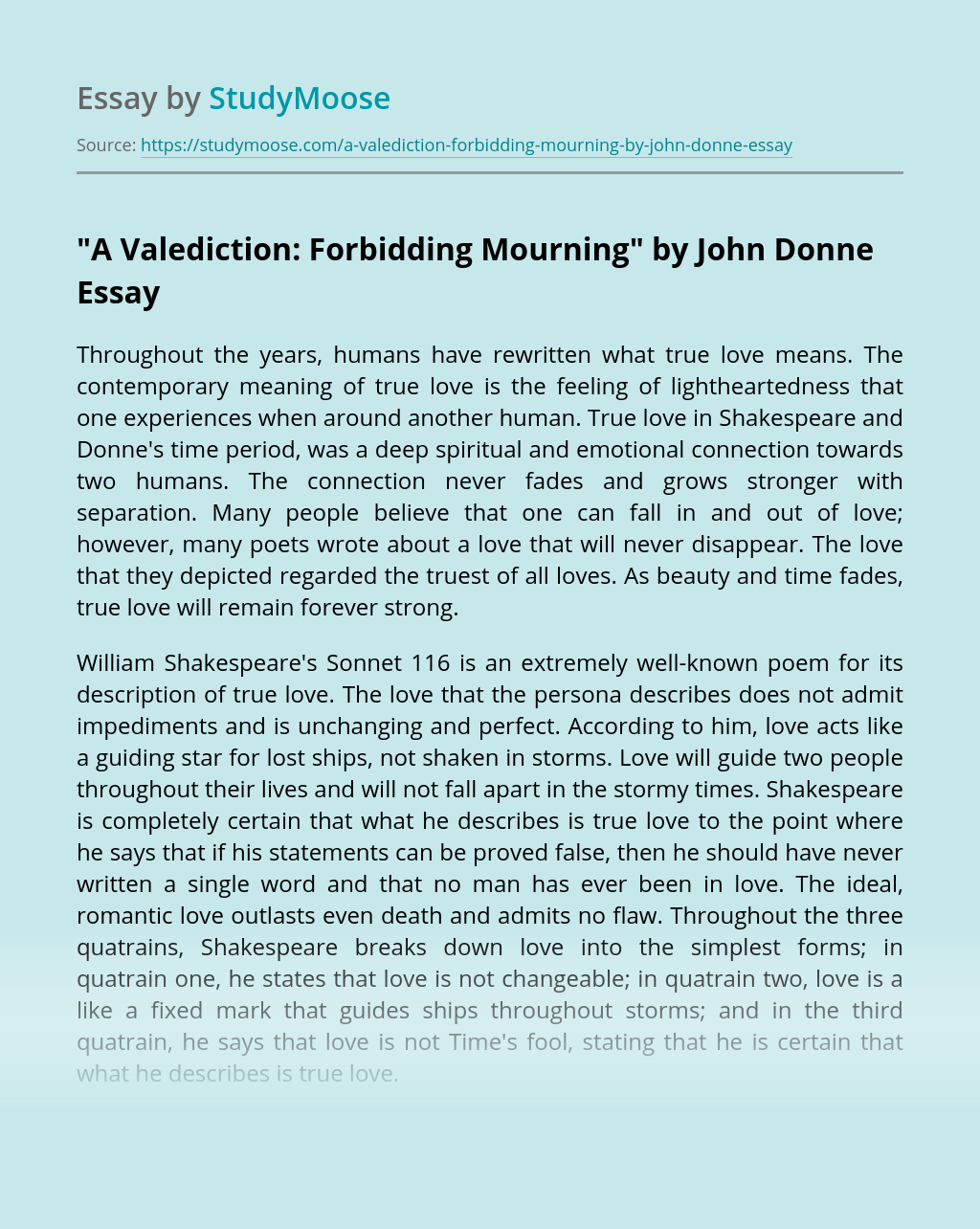 """""""A Valediction: Forbidding Mourning"""" by John Donne"""