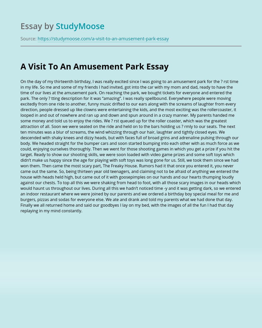 Fun at the amusement park essay help with my cheap critical analysis essay on civil war