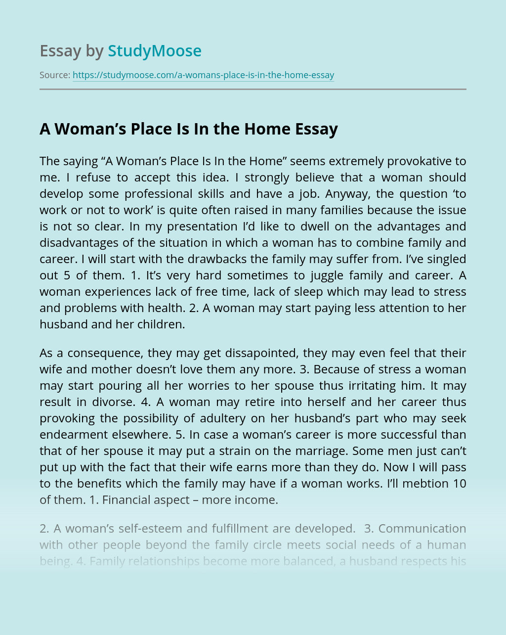 ?A Woman's Place Is In The Home