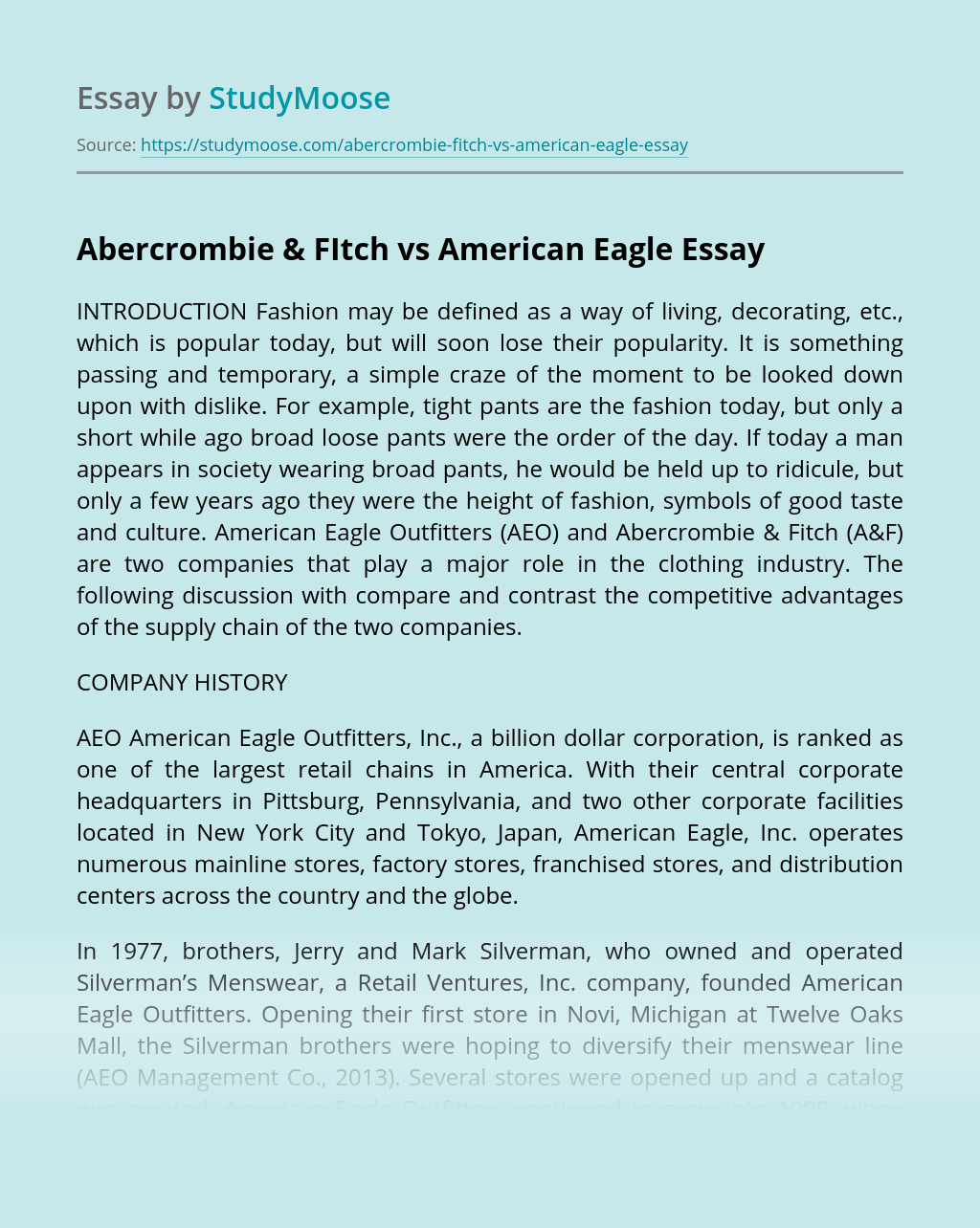 Abercrombie & FItch vs American Eagle