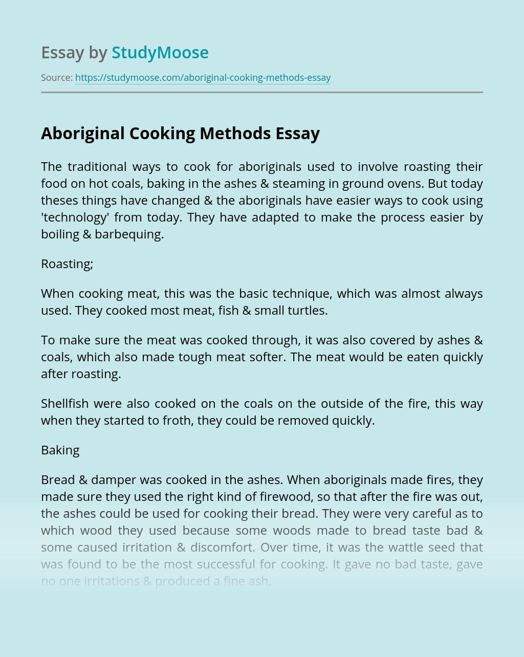 Aboriginal Cooking Methods