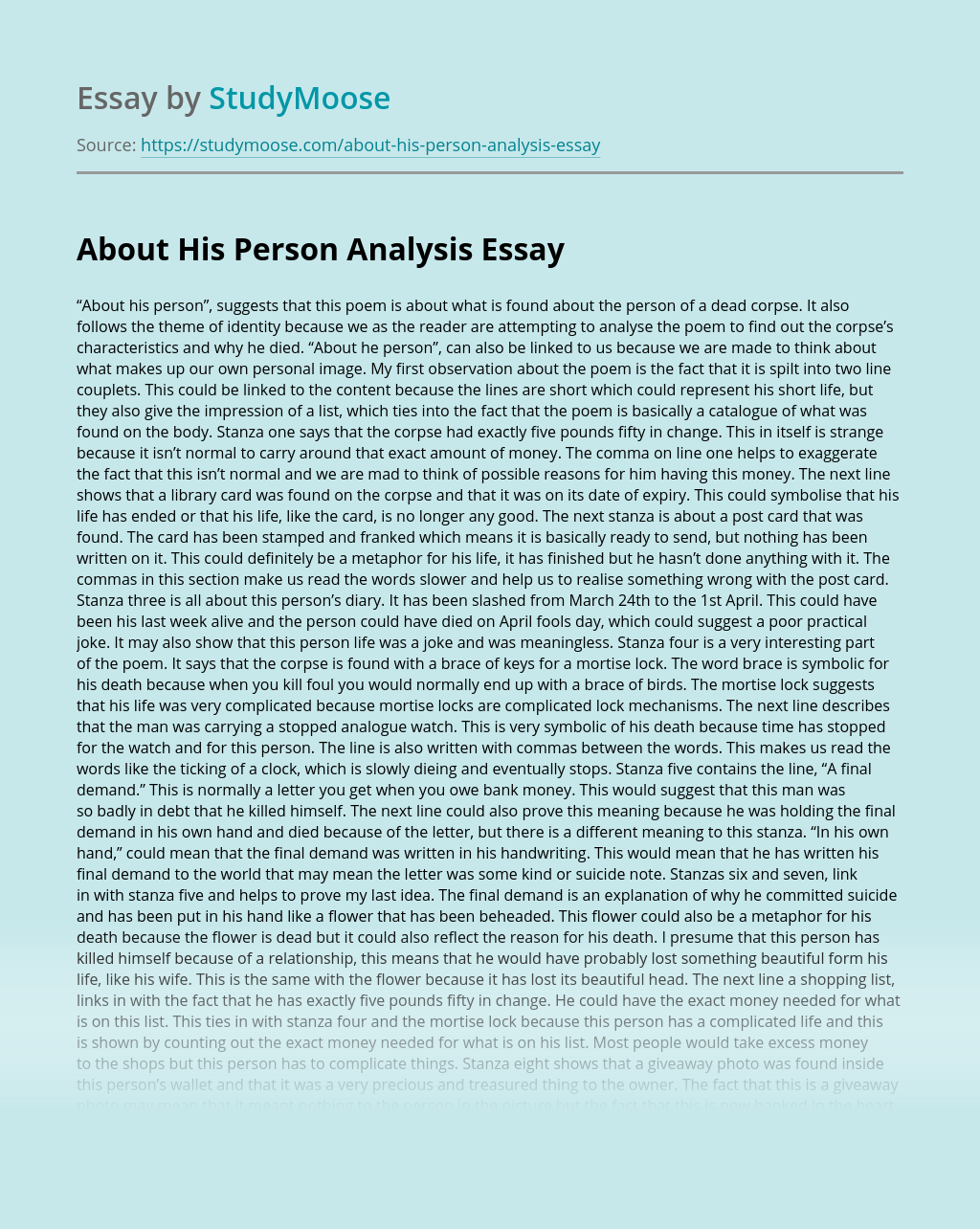 About His Person Analysis