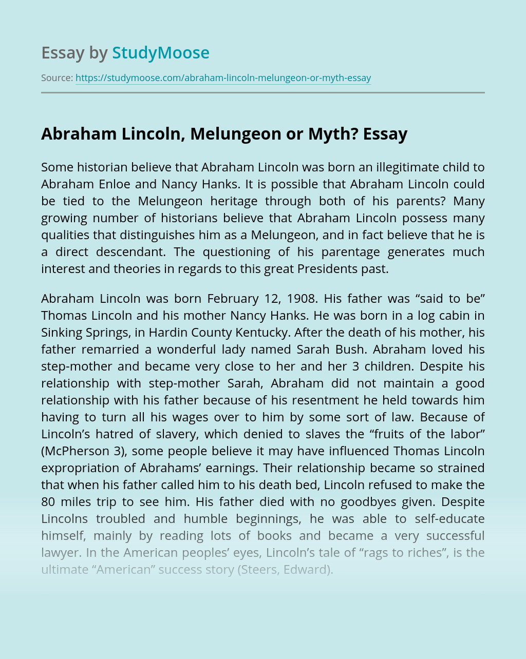 Abraham Lincoln, Melungeon or Myth?