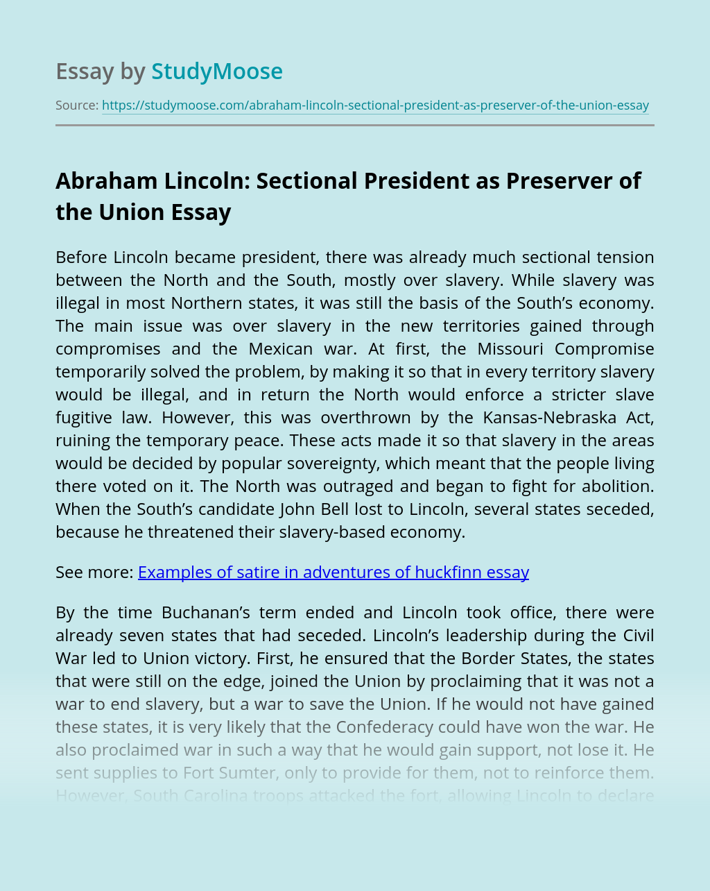 Abraham Lincoln: Sectional President as Preserver of the Union