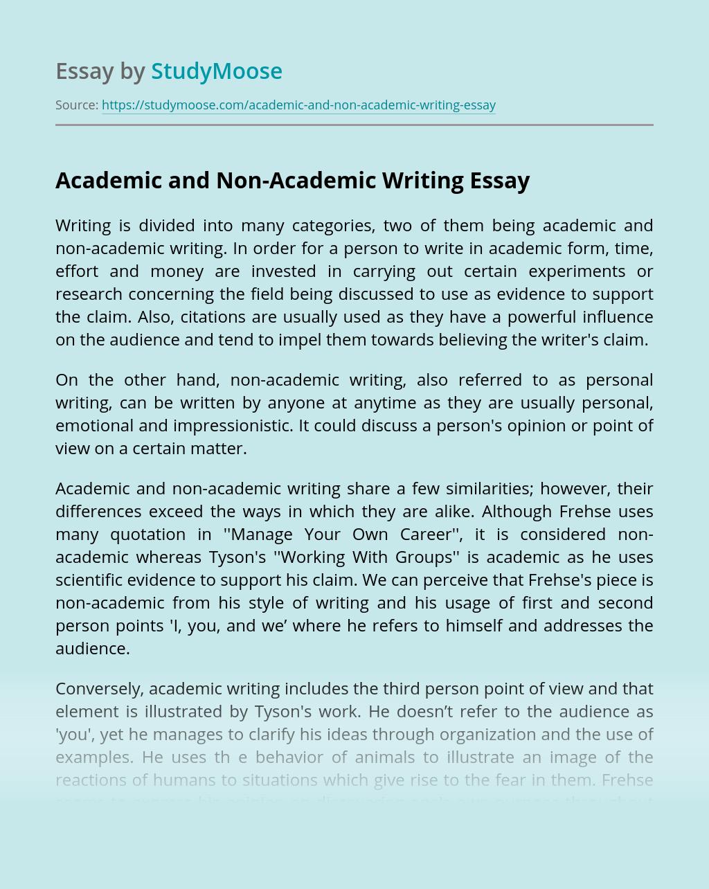 Academic and Non-Academic Writing