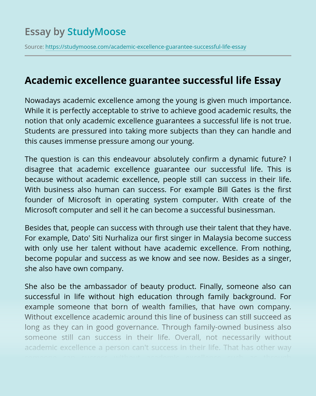 Academic excellence guarantee successful life