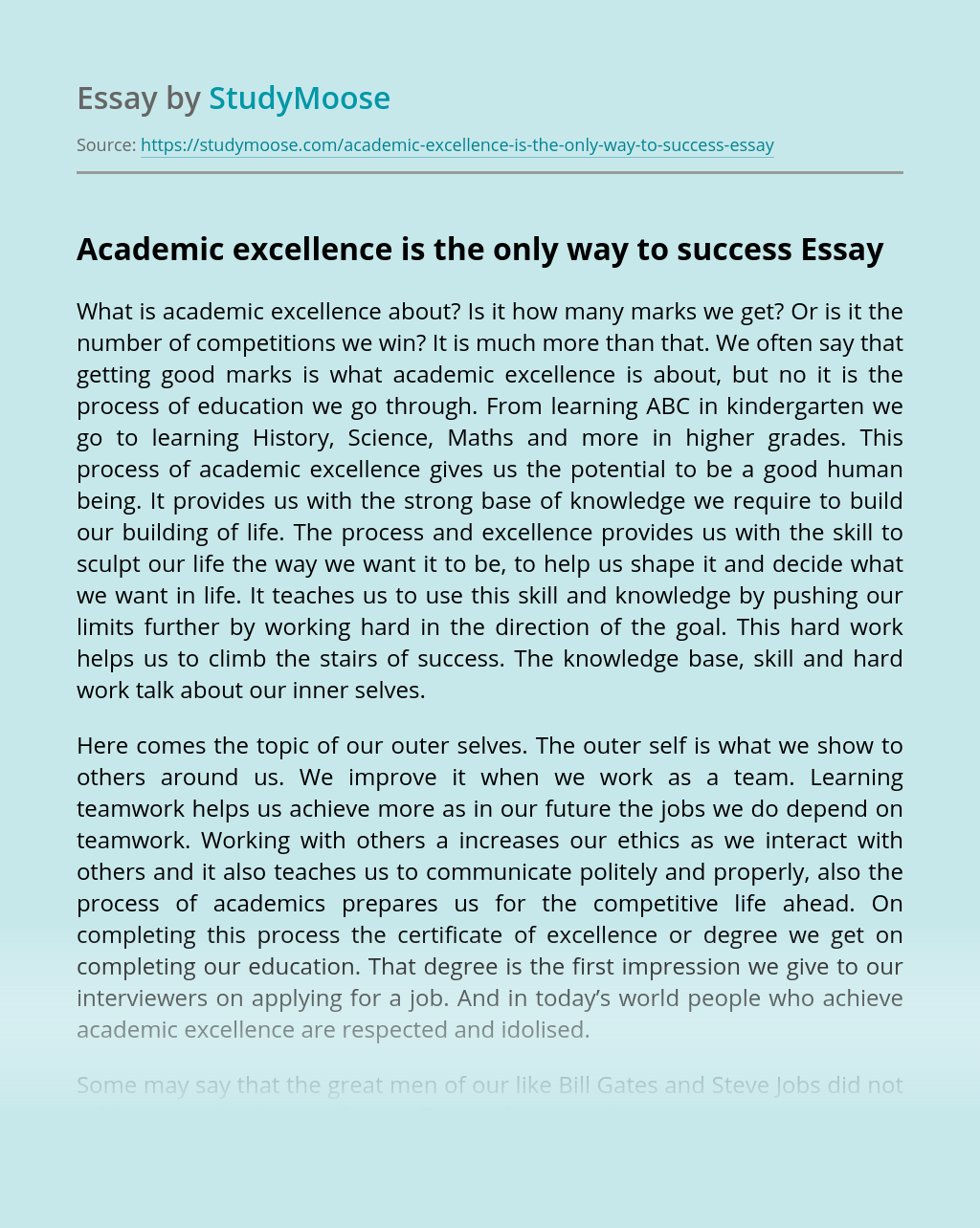 ?Academic excellence is the only way to success