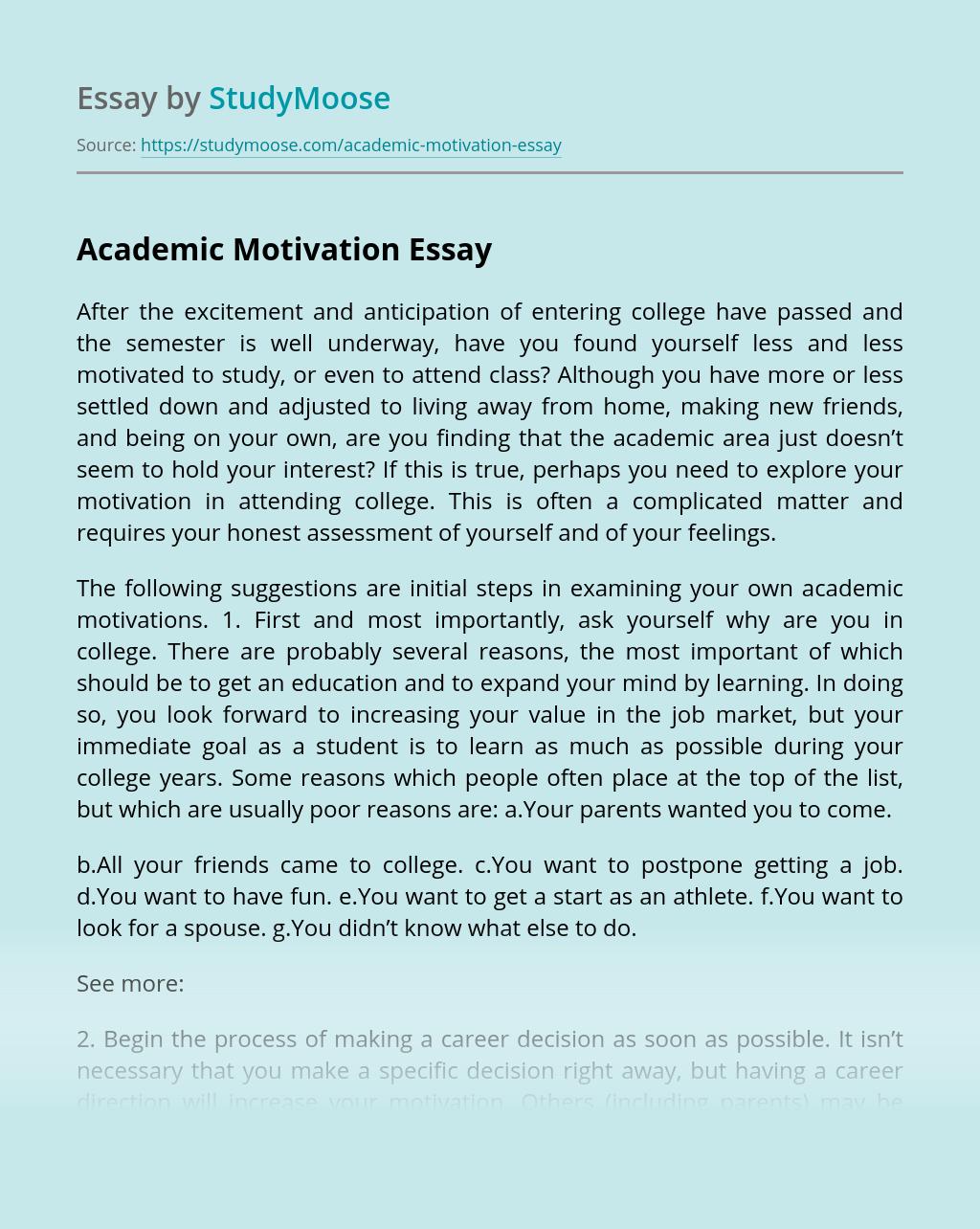Academic Motivation