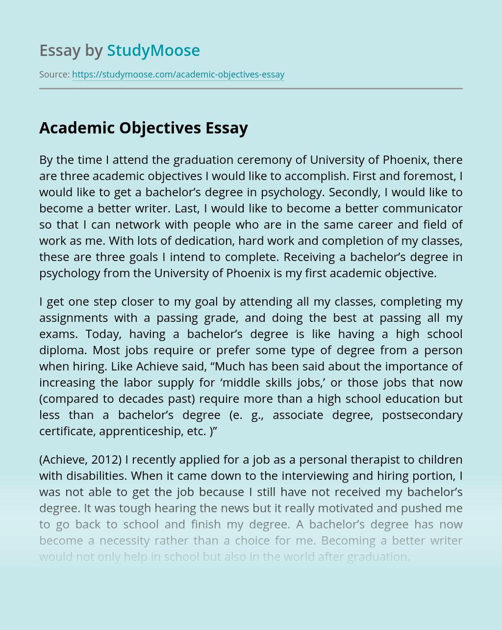 Academic Objectives