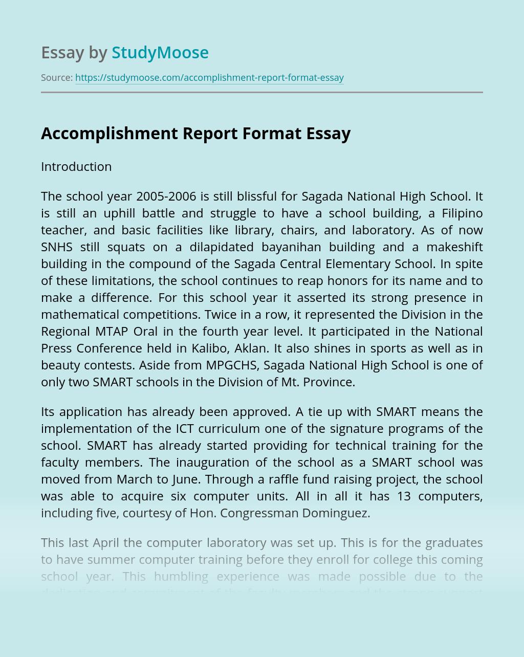 Accomplishment Report Format