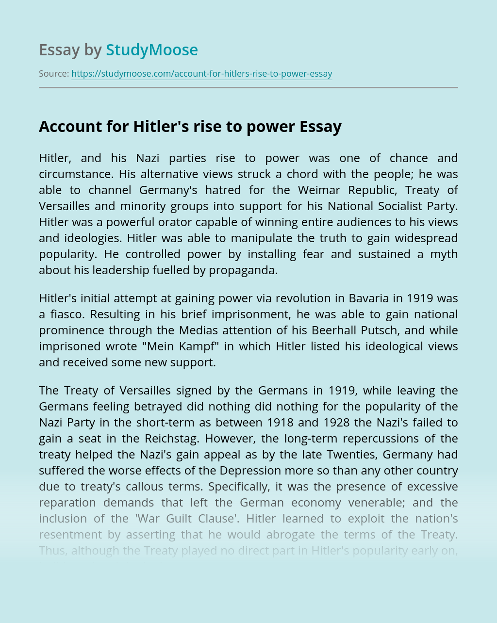 Account for Hitler's rise to power