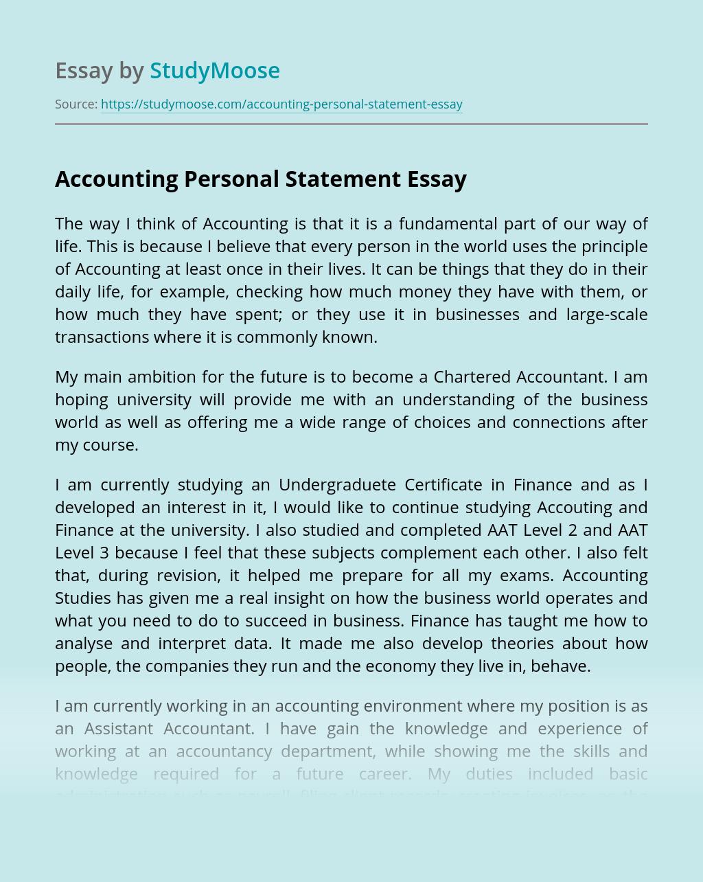 write me finance personal statement