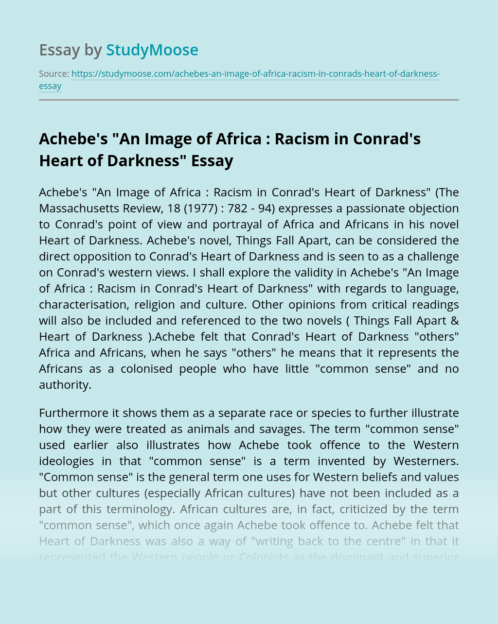 """Achebe's """"An Image of Africa : Racism in Conrad's Heart of Darkness"""""""