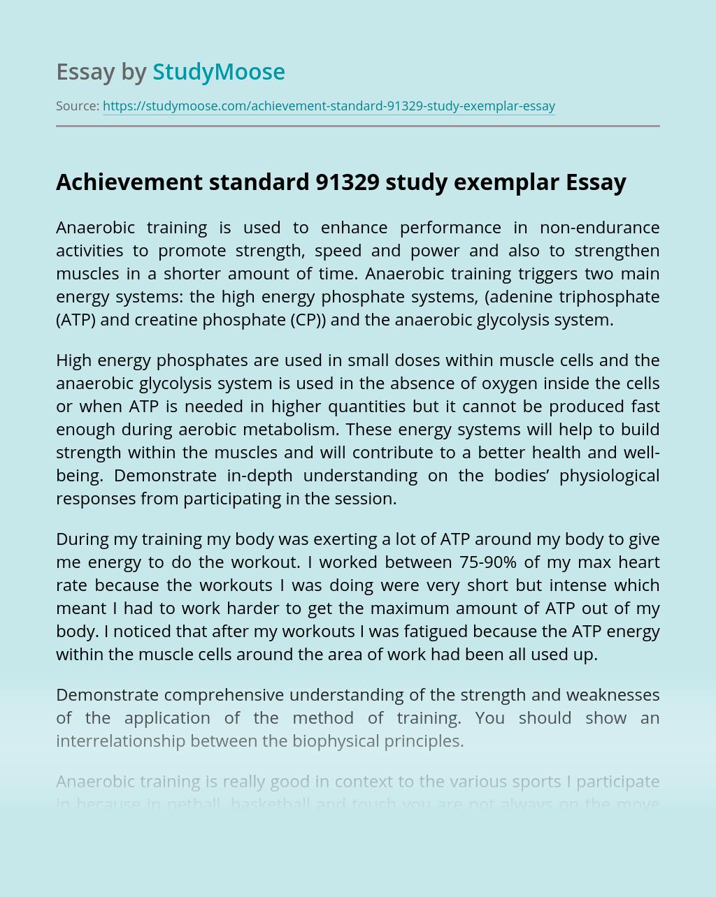 Achievement standard 91329 study exemplar
