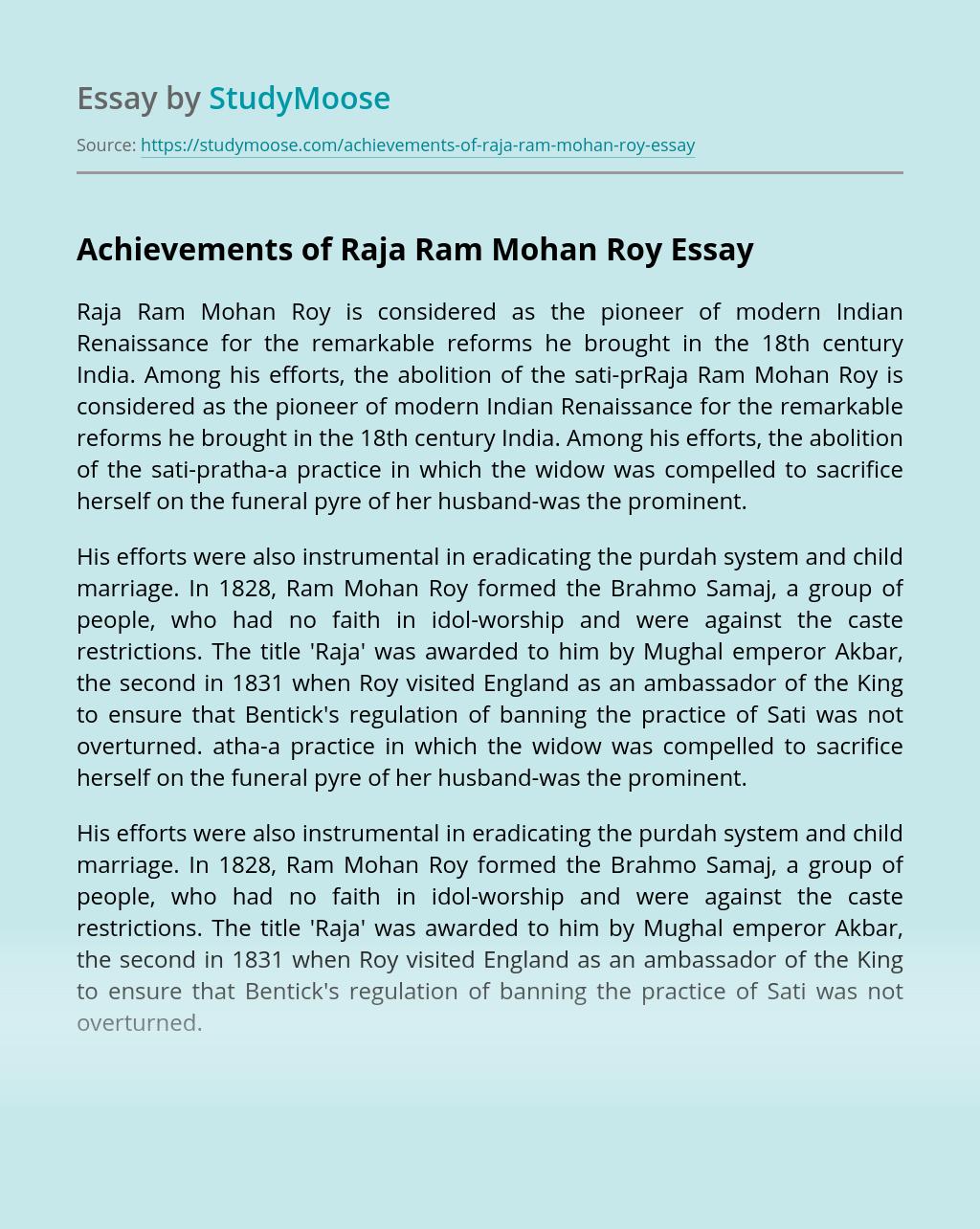 Achievements of Raja Ram Mohan Roy