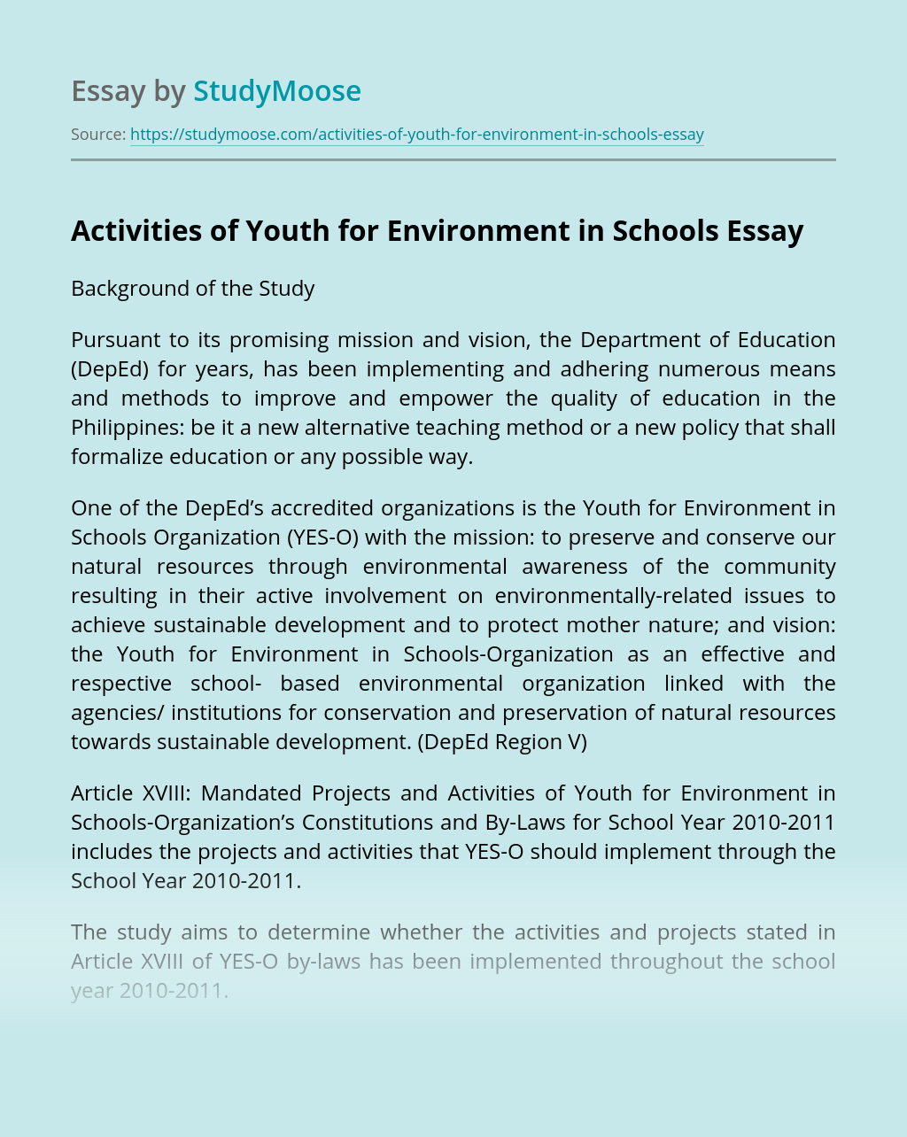 Activities of Youth for Environment in Schools
